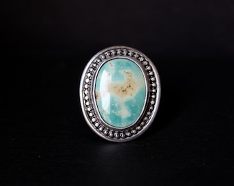 READY TO SHIP - Oval Royston Turquoise Sterling Silver Statement Ring | Size 8.75 - 9  | Nevada Mine | Boho Minimalist | Gugma Jewelry