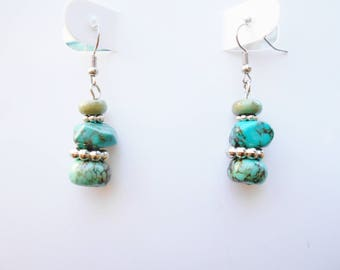 Green Bead Earrings  ONE OF A KIND