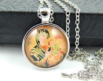 Our Lady of Perpetual Help Cabochon Catholic Necklace - Catholic Jewelry - Religious Jewelry - Catholic Medal Necklace - Orthodox Mary SL