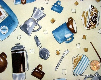 One Half Yard Cut Quilt Fabric, Coffee related items, Cups, Beans, etc., Blue & Brown, Timeless Treasures, Sewing-Quilting-Craft Supplies