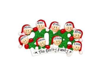9 Family Members 2018 Ornament / Personalized Christmas Ornament / Friends Ornament / Sibs / Office / Co-Workers Hand Personalized