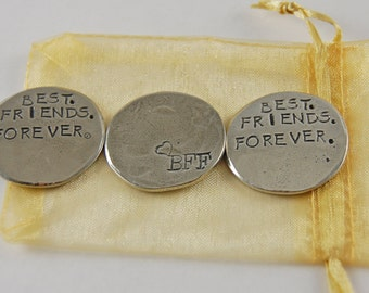 Set of 3 Best Friends Forever Sentiment Tokens with Organza Bag