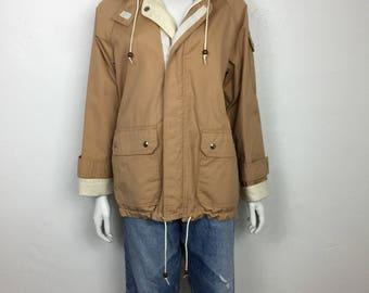 Vtg 70s khaki cotton canvas hooded lightweight jacket small