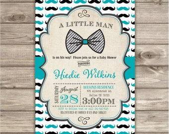 Mustache Little Man Invitations Bow Tie A little Man is on the way baby shower Gentleman  Chevron Mustache boy Black Grey Teal BowtieNV758