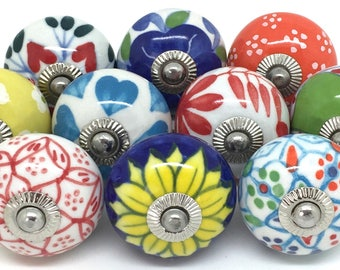 Set of 10 Ceramic Door Knobs Designed By & Exclusive to These Please - Multi-coloured Mix FP8