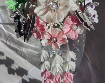 April - Large Cherry Blossom and Silver Butterfly Kanzashi Hair Fork