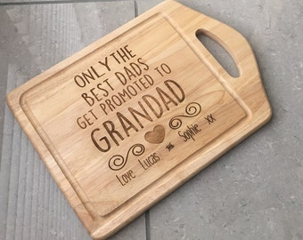 only the best dads get promoted to grandad quote cutting chopping board engraved personalised