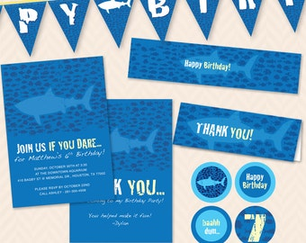 Ocean Shark Birthday Party Invitation, Thank You Card and Decoration Set