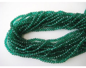 50% Off AAA Natural Emerald Micro Faceted Rondelles, 3.5-4.25 mm Approx. ,16 inch Strand,sold per strand