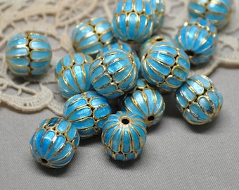 11 X 14 mm Cloisonné Aqua Turquoise Gold Enamel Beads 10 Pieces