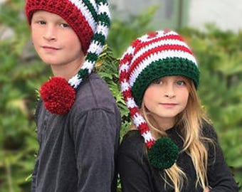CROCHET PATTERN - Striped Elf Hat - Holiday Hat Pattern - Christmas hat - Santa Hat - Holly Elf Hat - Adult - Child - Ava Girl Patterns