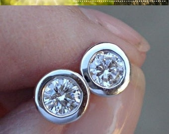 14K White Gold Diamond Bezel Earrings - 0.50 Carat Eye Clean SI/ G