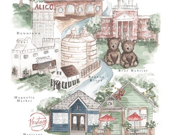 Waco City Map Print