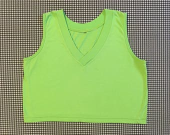 1990's, V-neck, sleeveless, crop top, in lime green, Women's size Medium/Large