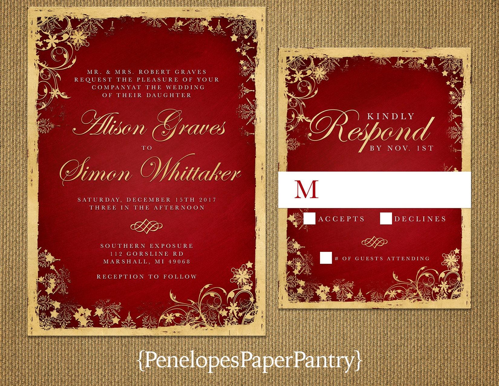 Elegant Christmas Wedding InvitationRedGoldRed and