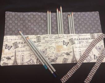 Parisian fabric Colored Pencil Holder, Roll-up Pencil Case,