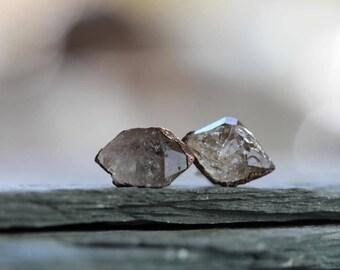 Crystal Earrings - Tibetan Quartz Studs - Sterling Silver Posts