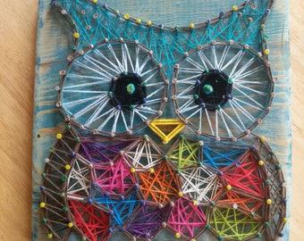 Handmade String Art Owl Sign