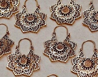 Flower Earrings (2 PAIRS), Wedding Earrings, Mandala Jewelry, Lightweight Earrings, Unique Earrings, Wife Gift, Brass Hoop Earrings, Hoops