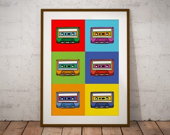 Warhol Art Print, Warhol Poster, Pop Art Print, Pop Art Poster, Modern Art, Minimalist Wall Art, Andy Warhol Style Print, Cassette Wall Art