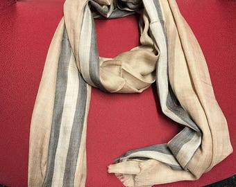 100% Superfine pure Cashmere Scarf with stripe border-brown inner / for both / men/ women/loved by all age