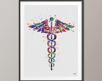 Caduceus Medical Symbol Watercolor Art Print Wall Art Nurse Gift Medical Art Science Art Gift for Doctor Home Decor Office Decor [NO 685]