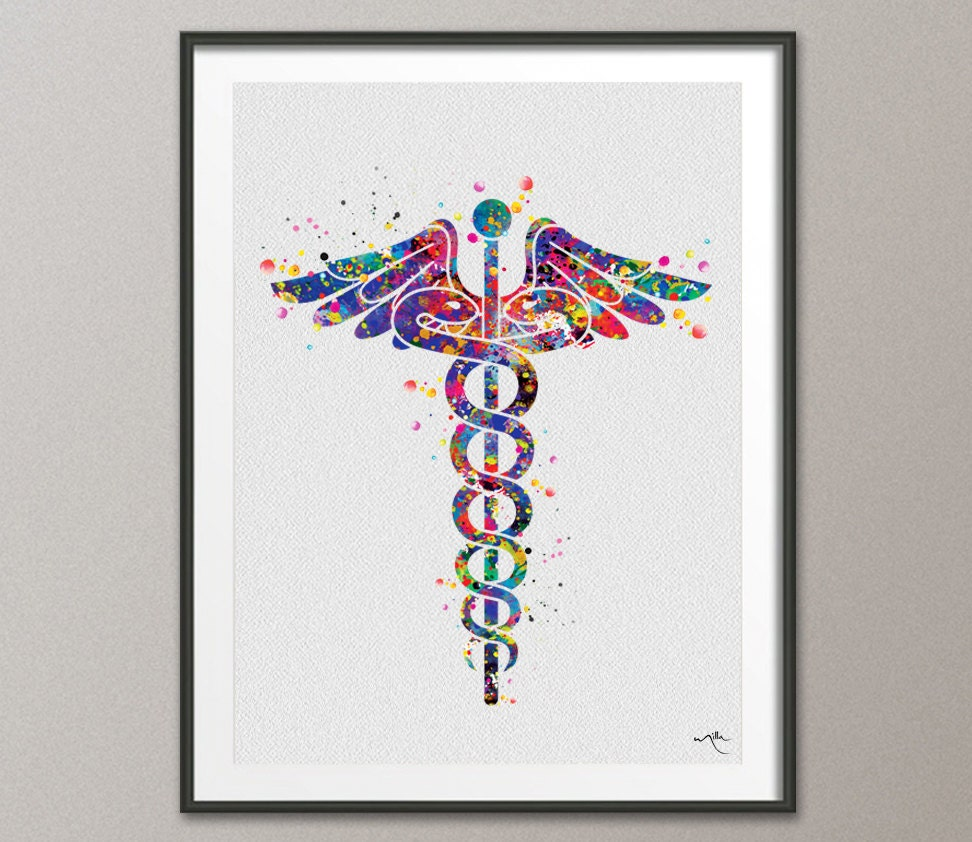 Caduceus medical symbol watercolor art print wall art nurse zoom biocorpaavc