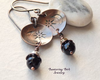 Moon and Star Earrings, Small Black Onyx Drop Earrings with Stamped Copper Disc, Rustic Copper Jewelry