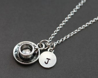 Coffee Cup Necklace, Gift for Tea Lover, Tea Cup Necklace, Gift for Coffee Lover, Personalized Necklace, Initial Necklace, Gift for Friend