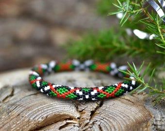 Christmas gift for her Christmas beaded bracelet green red bracelet Bead crochet bangle christmas gift ideas beaded jewelry Gift for women