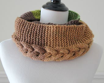Circle Scarf Knit Cowl - Brown Green Cable Infinity Scarf Neckwarmer