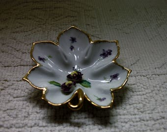 Norcrest Hand Painted Fine China Made in Japan, Leaf, Pansies