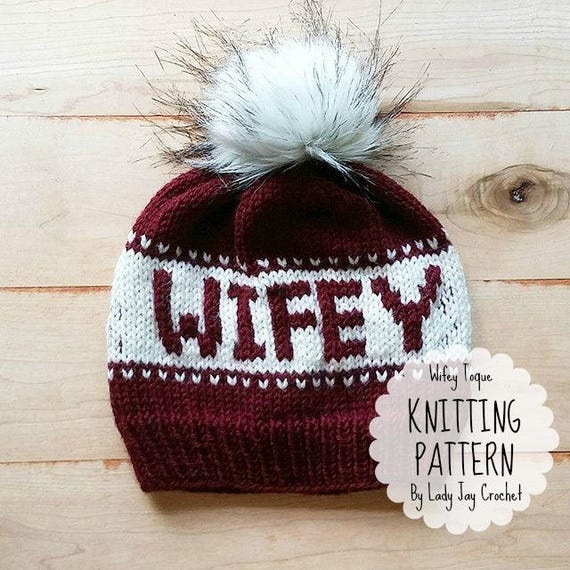 Pattern Wifey Toque Knit Hat With Words Bride To Be Beanie