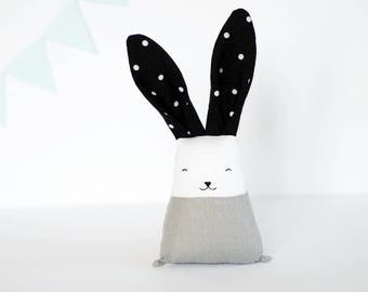 Rabbit white black, stuffed bunny toy, monochrome toys, baby motor skills toy, teething toys, linen toys, new mom, Modern Nursery Decor