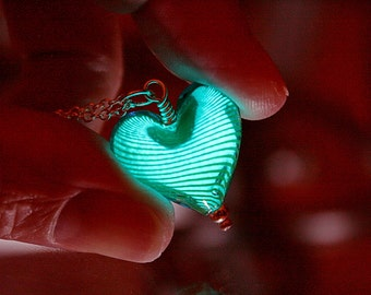 Turquoise HEART Pendant / GLOW in the DARK / Glass Heart Necklace / Glow Heart Pendant /