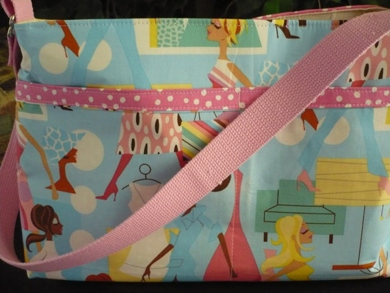 """Alexander Henry """"Shopping Girls"""" D-Ring Diaper Bag"""