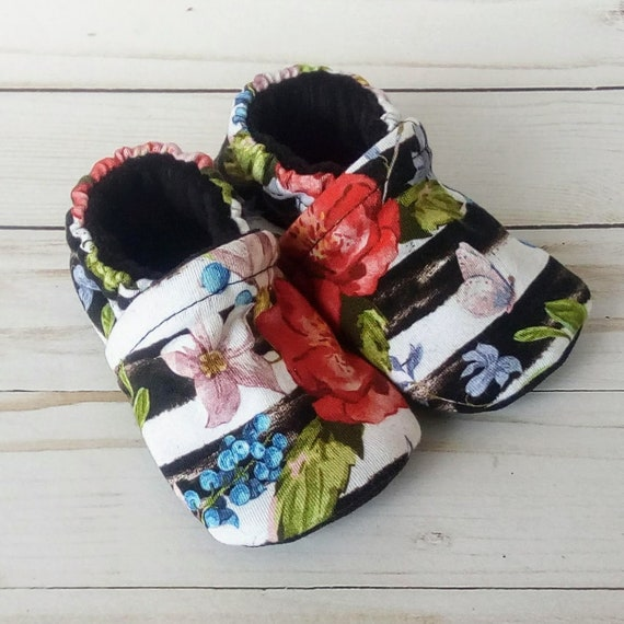 Stripes and Floral: Soft Sole Baby Shoes 6-12M