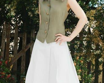 Vintage 80's Carlisle Moss Green Linen Women Vest | 80's Revival of 50's