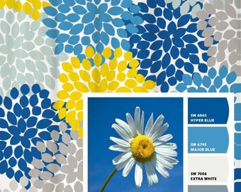 Shower Curtain Daisy Yellow Sky Blue Inspired Floral Standard And Long Lengths 70 74 78 84 Or 96 In Lets Make One Your Colors