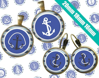 Digital Collage Sheet Nautical Retro Anchors 20mm 18mm 16mm Printable Circles Download for pendants earrings cufflinks rings