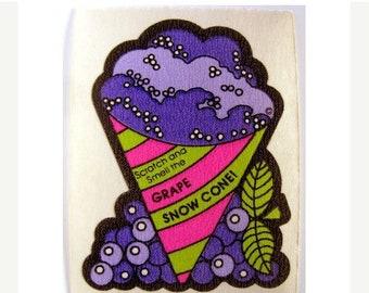 SALE Vintage Mello Smello Scratch and Sniff Grape Snow Cone Sticker 80's