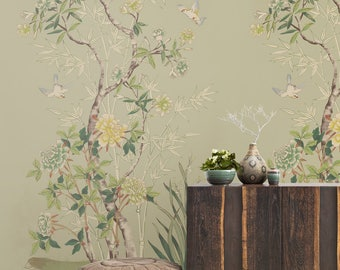 Vintage Chinoiserie Wallpaper / Birds Wallpaper / Easy Install And  Removable Wallpaper / Chinoiserie / Floral