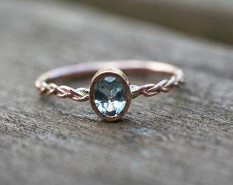 Aquamarine engagement ring, 14k rose gold engagement ring, blue gemstone wedding ring, Unique Engagement Ring, Bridal ring, Anniversary