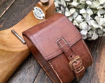 Vintage English Clothes Brush Set in Leather Case - Stylish Ebony Brush Set - Gentlemans Grooming Kit - Vintage Leather Travel Set