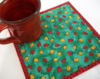 Ladybug Mug Rug Coaster Reversible Quiltsy Team Handmade Quilted Teal Red