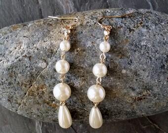 Colby Earrings, Dangle Earrings, Drop Earrings, Pearl Wedding Earrings, Beach Jewelry, Beach Earrings, Beach Lover Jewelry, Gift for Her