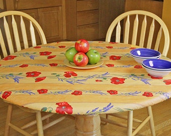 """Fitted 18-30"""" Elasticized Round Coated Tablecloth - Choose the Size & Color - Umbrella Hole Available - French Provencal Waterproof Fabric -"""