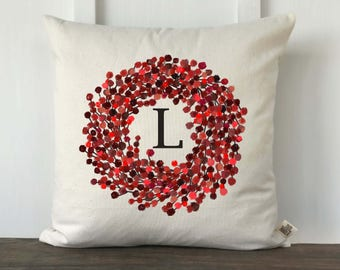 Farmhouse Pillow, Personalized Pillow Cover, Holiday Pillow Cover, Watercolor pillow cover, Decorative Pillow Cover, Berry wreath initial
