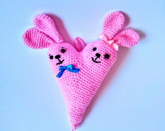 "Valentine  Crochet Heart-rabbit - amigurumi heart rabbit - 13 cm/5.1"" tall"