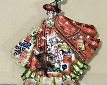 Christmas Paper Doll Or 3D Mrs. Santa Claus Greeting Card - INSTANT Digital DOWNLOAD - With Kitten, Toys For Paper Crafts XP3X